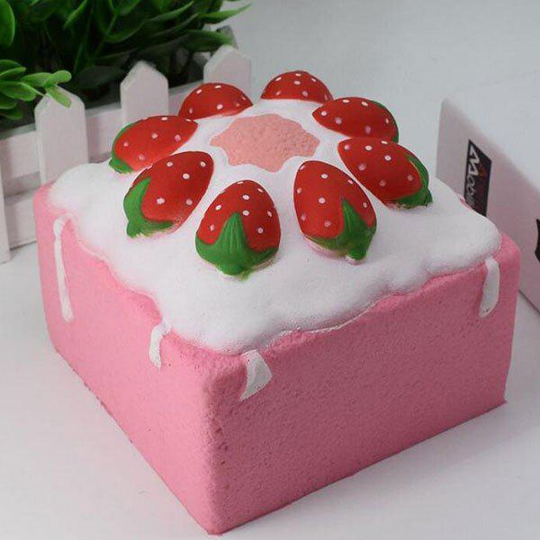 Simulation Food Strawberry Square Cake Slow Rising Squishy Toy - ROSE PÂLE