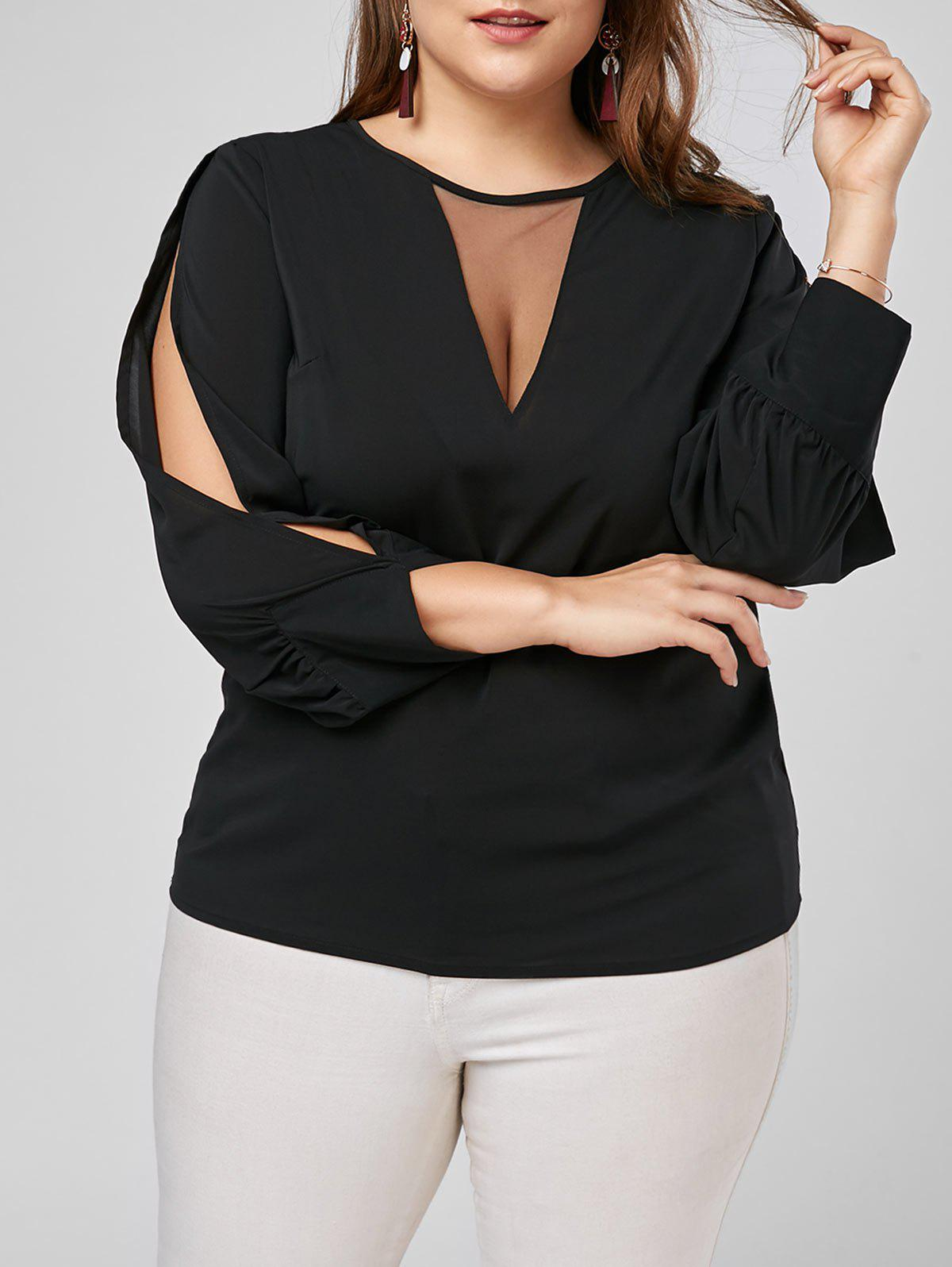 Mesh Trim Split Long Sleeve Plus Size Top plus size split sleeve embroidered top