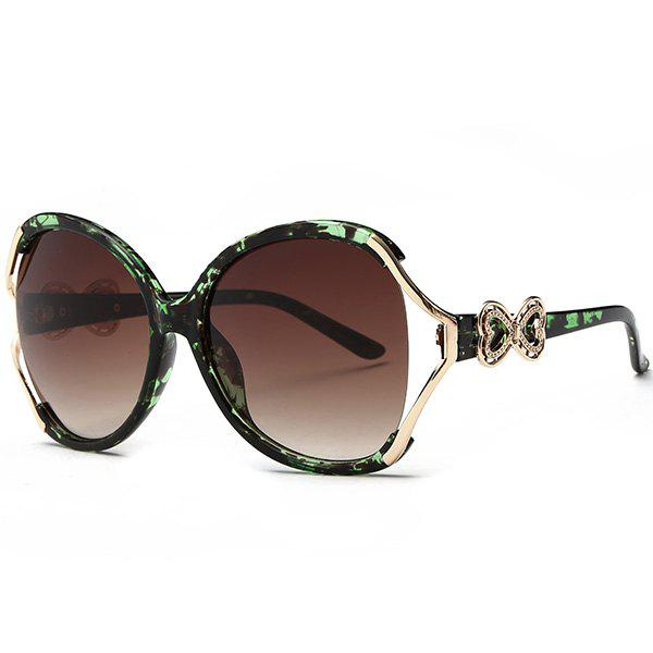 Tiny Bowkont Embellished Two Tone Wide Sunglasses - GREEN