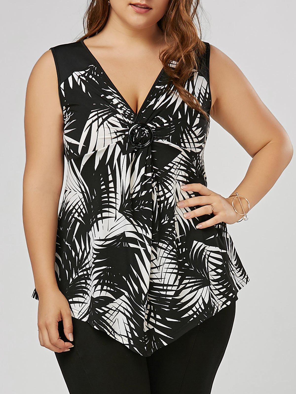 Plus Size Twist Front Slim Fitting Top - WHITE/BLACK 4XL