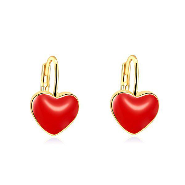 Heart Hoop Drop Earrings bow detail hoop drop earrings