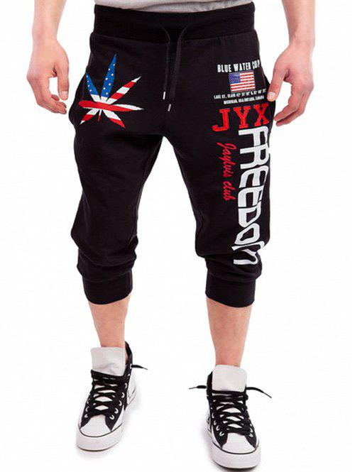 Patriotic Leaf Graphic Print Drawstring Cropped Joggers - Noir XL