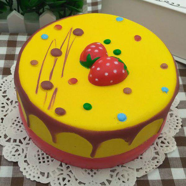 Simulation Food Strawberry Mousse Cake Slow Rising Squishy Toy - YELLOW