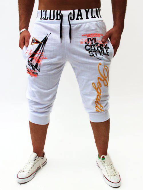 Graphic Sailing Print Drawstring Cropped Joggers - Blanc M