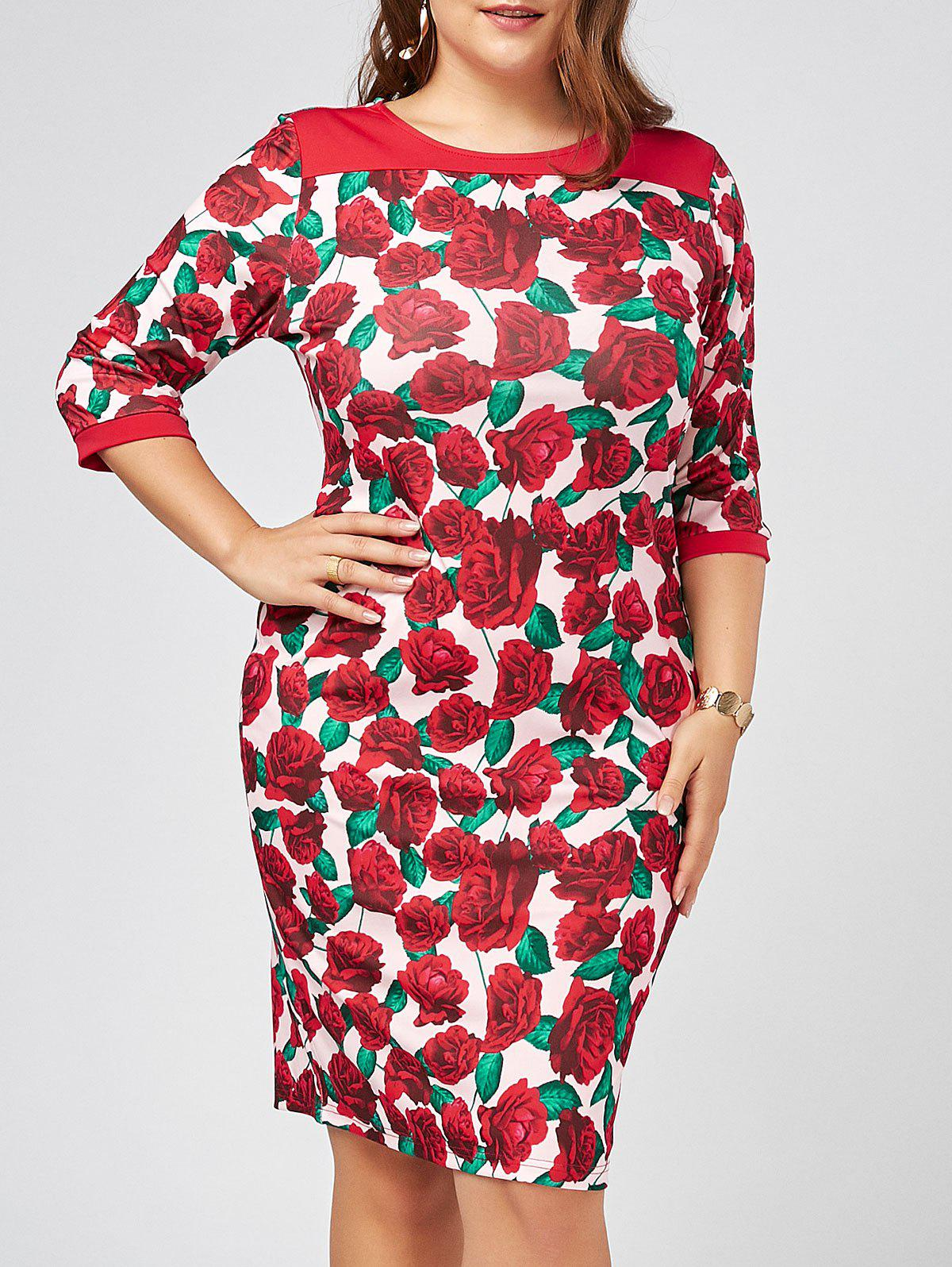 Plus Size Floral Printed Bodycon Dress with Sleeves high quality couplers plastic shaft blade foot seat replacement for philips hr2003 hr2004 hr2006 hr2024 hr2027 blender parts