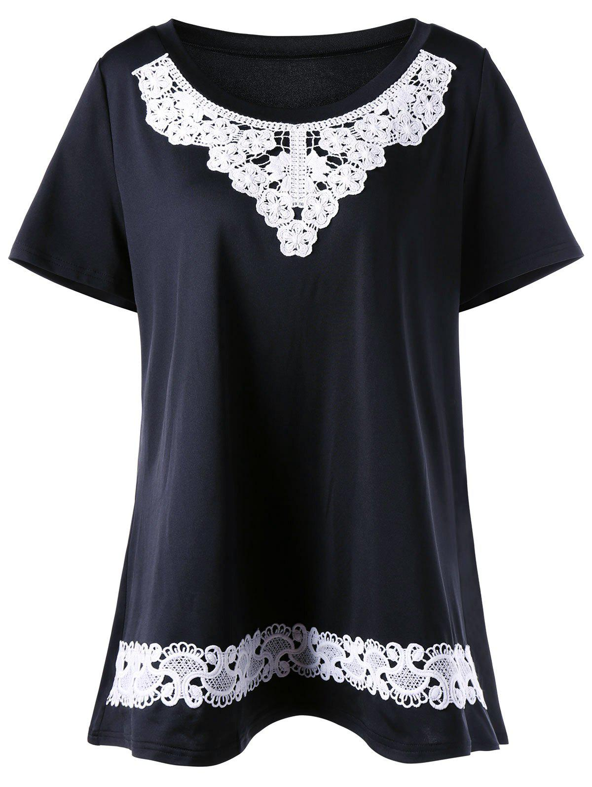 Lace Insert Plus Size Tunic T-Shirt - BLACK 3XL