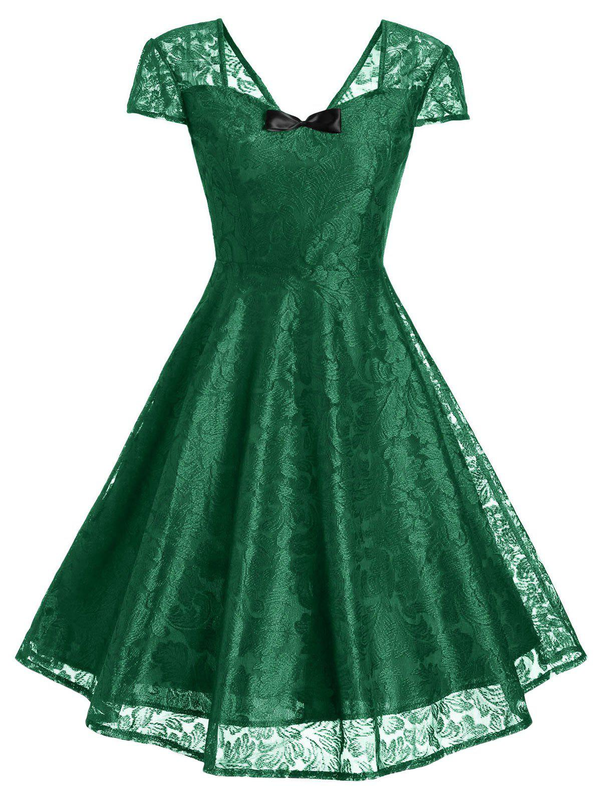 Vintage Bowknot Lace Fit and Flare Dress - GREEN S