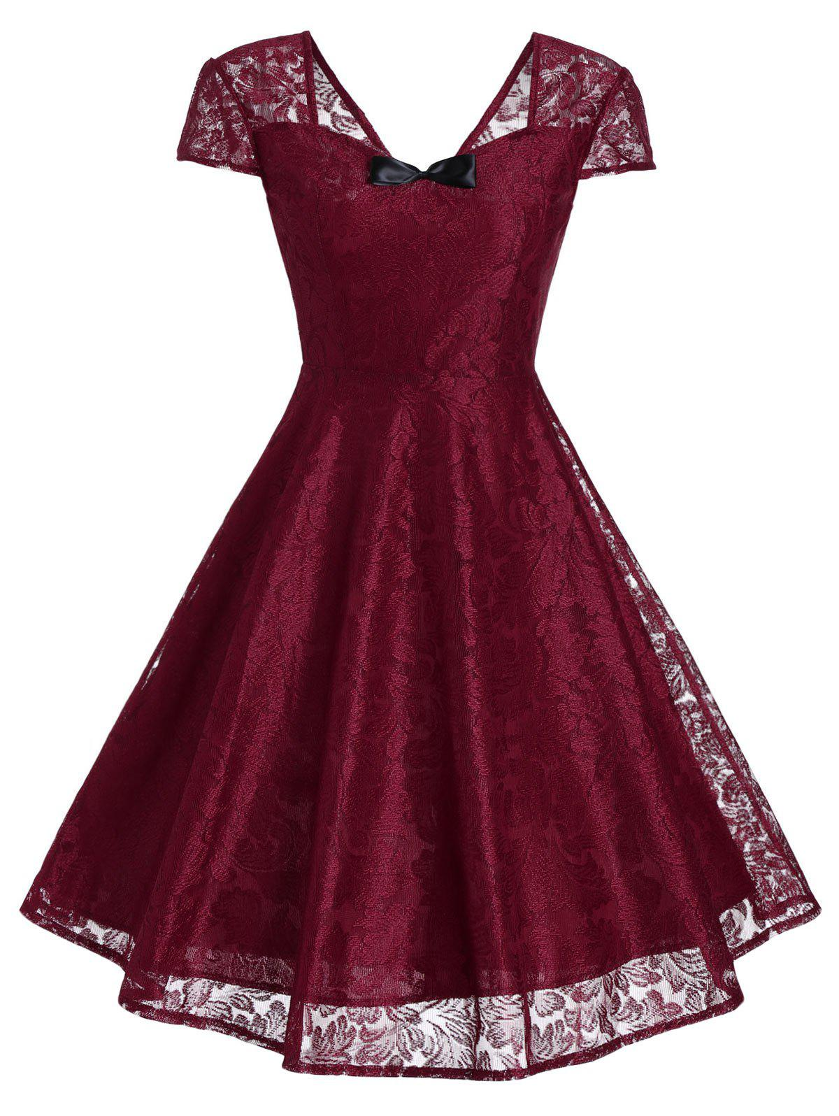 Vintage Bowknot Lace Fit and Flare Dress lace overlay fit and flare dress