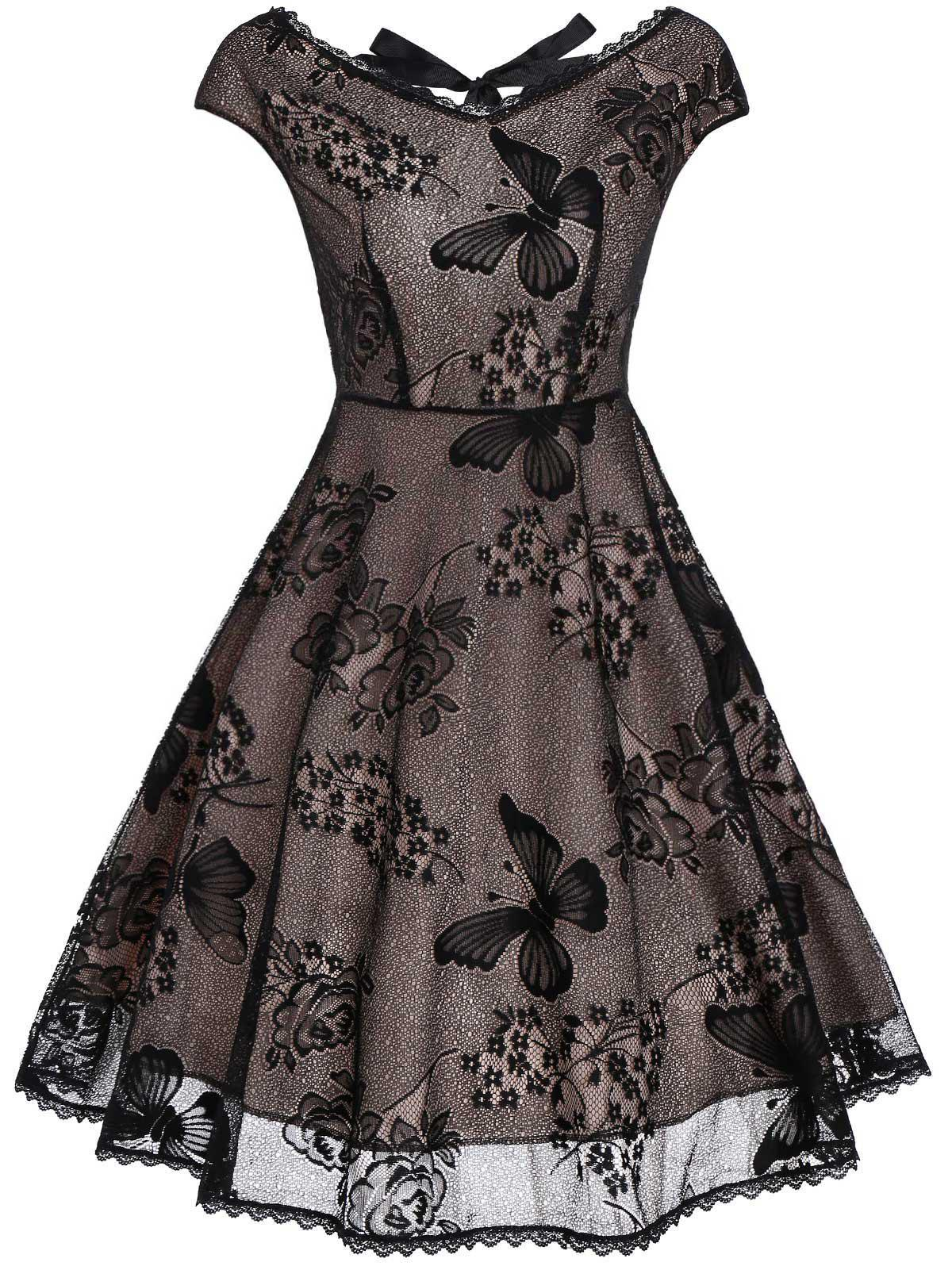 Vintage Cutout Lace Fit and Flare Dress lace overlay fit and flare dress