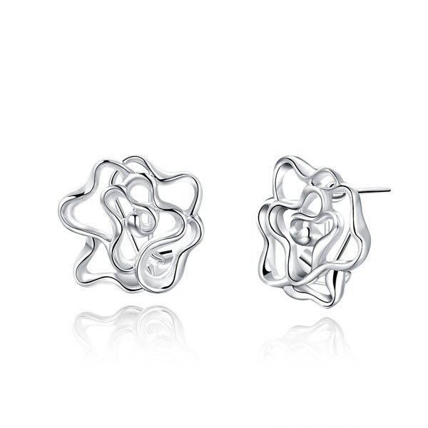 Filigree Flower Stud Tiny Earrings - SILVER