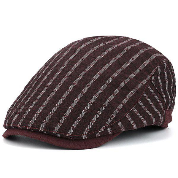 Stripe Embellished Sunscreen Flat Cap - Rouge vineux