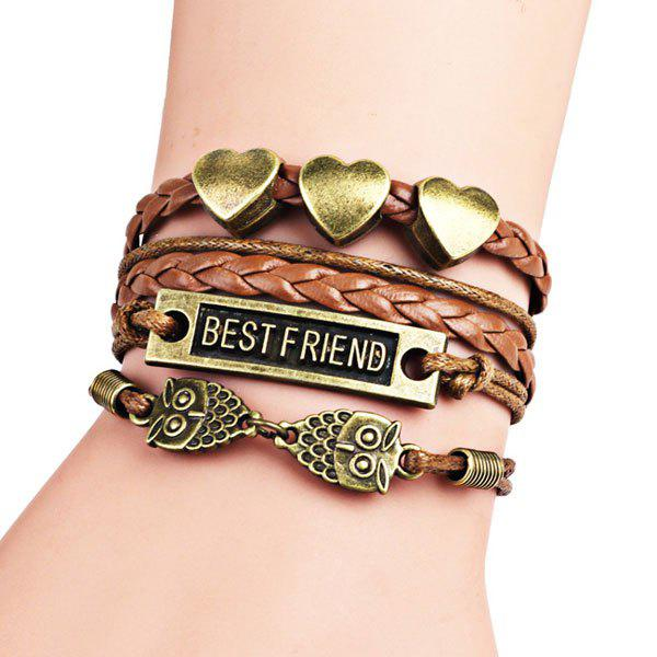 Best Friend Owl Heart Braid Bracelet - COFFEE