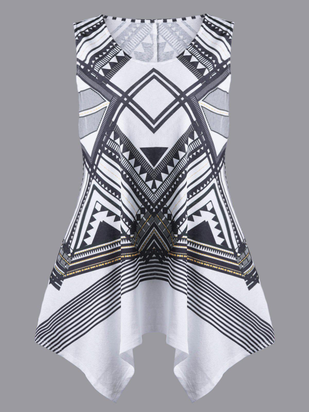 Plus Size Geometric Sleeveless Handkerchief T-shirt - WHITE/BLACK XL