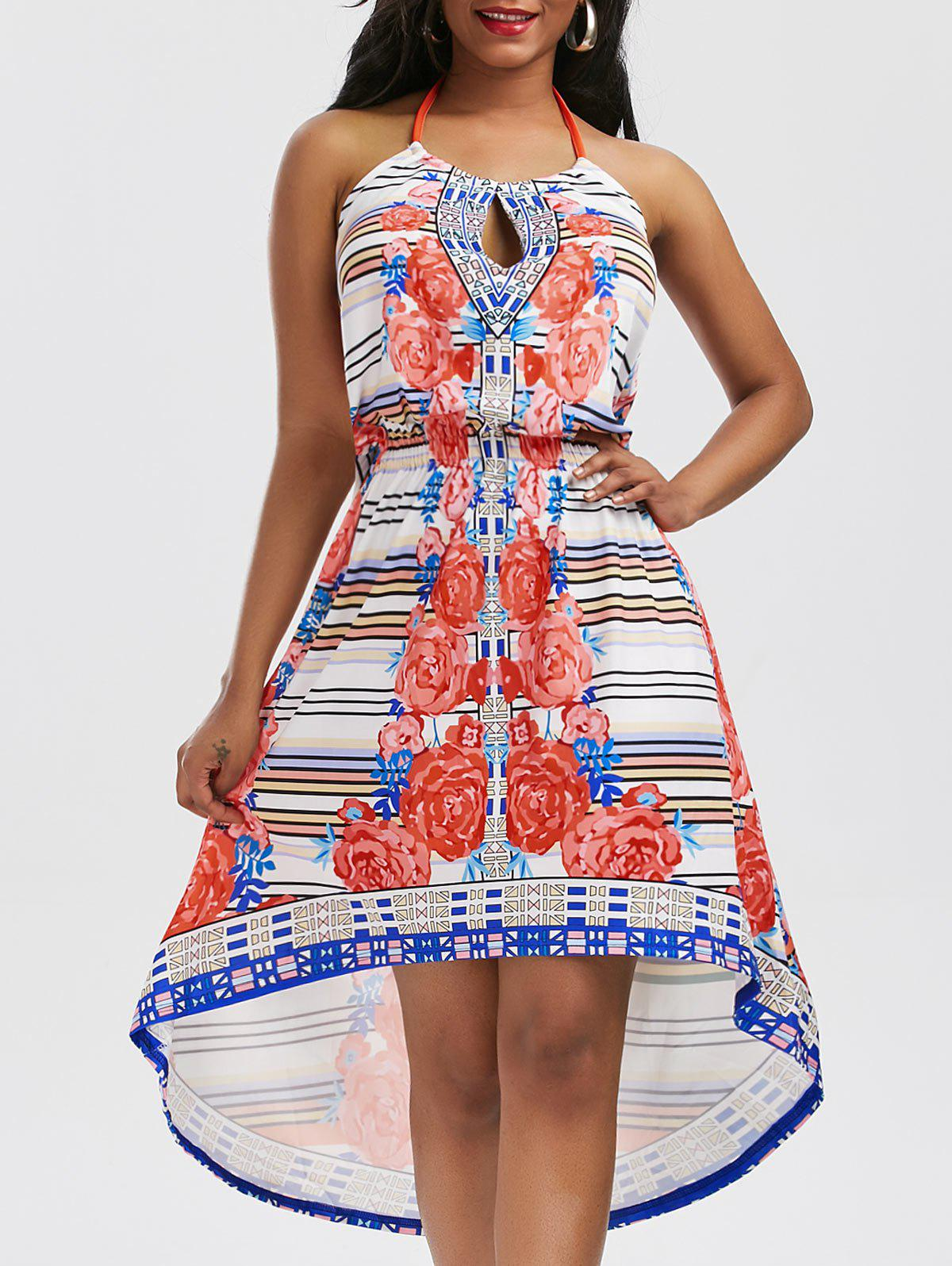 Multicolor Print Halter Long High Low Dress - COLORMIX S