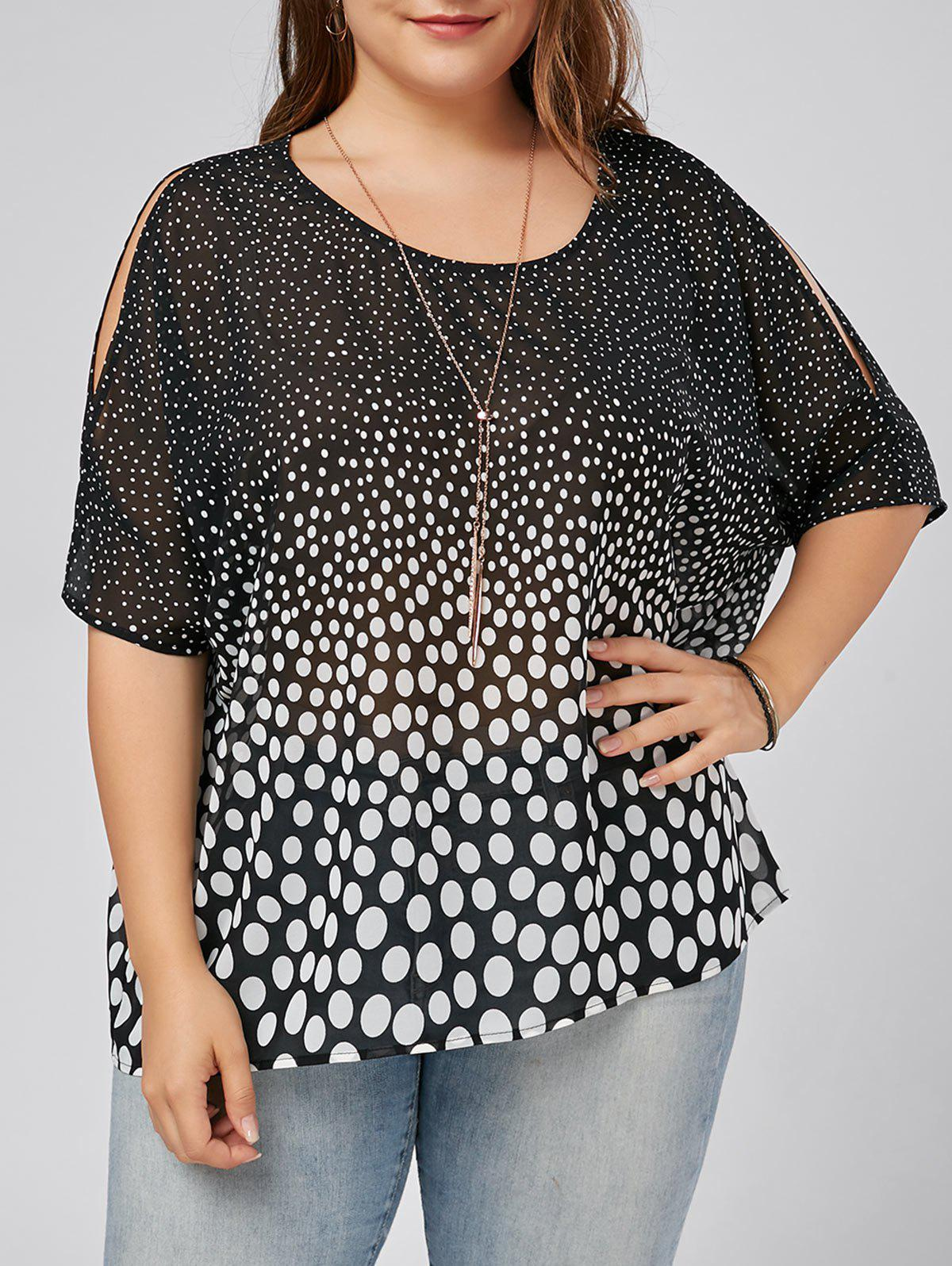 Plus Size Slit Sleeve Polka Dot Blouse - BLACK 5XL