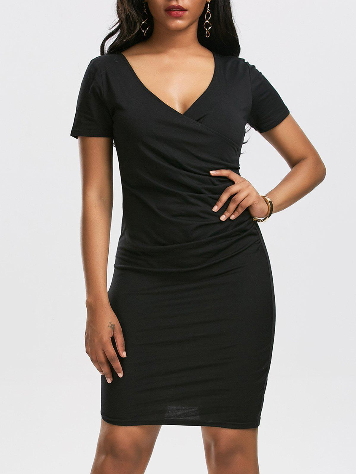 V Neck Surplice Ruched Bodycon Dress - BLACK XL