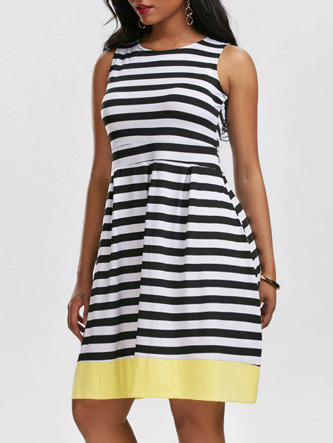 Vintage Striped Contrast Dress - WHITE/BLACK M