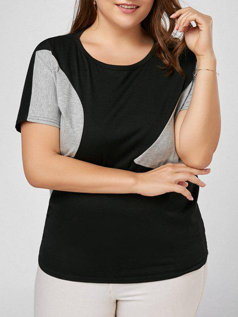 Plus Size Color Block Basic T-shirt - BLACK 3XL