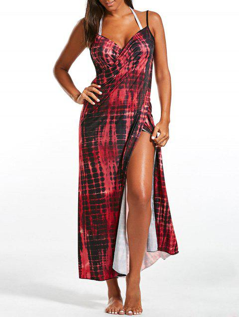 Wrap Cover Up Dress with Illusion Print - RED ONE SIZE
