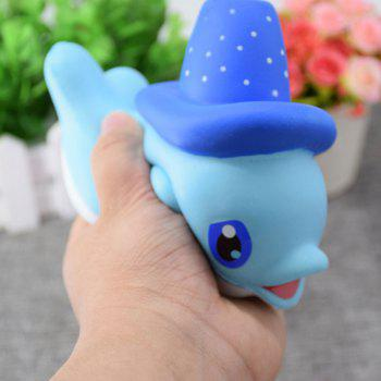 Scented Simulation Magic Hat Dolphin Cartoon Squishy Toy - Bleu
