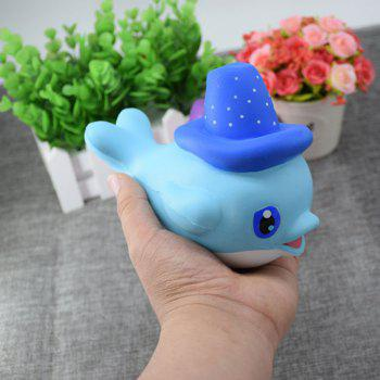 Scented Simulation Magic Hat Dolphin Cartoon Squishy Toy - BLUE BLUE