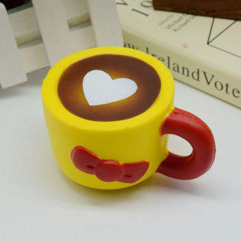 Heart Bowknot Simulation Cup Slow Rising Squishy Toy -  YELLOW