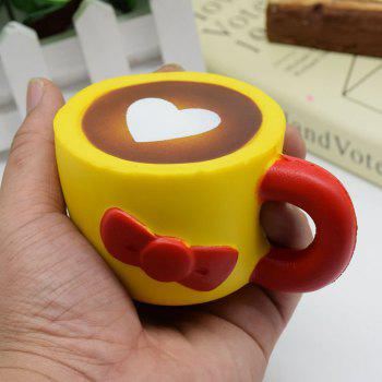Heart Bowknot Simulation Cup Slow Rising Squishy Toy - YELLOW YELLOW
