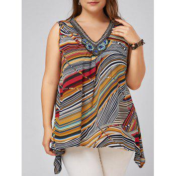 Plus Size Beading Embellished Striped Tank Top