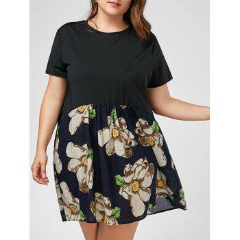 Plus Size Floral Printed Mini T-shirt Dress