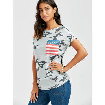 American Flag Print Patched Camo T Shirt - COLORMIX XL
