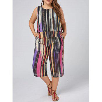 Plus Size Chiffon Stripe Tank Top and Palazzo Pants