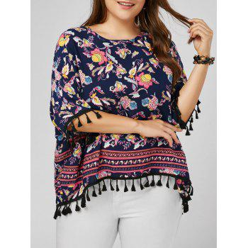 Tassel Dolman Sleeve Printed Plus Size Top