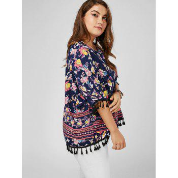 Tassel Dolman Sleeve Printed Plus Size Top - COLORMIX COLORMIX
