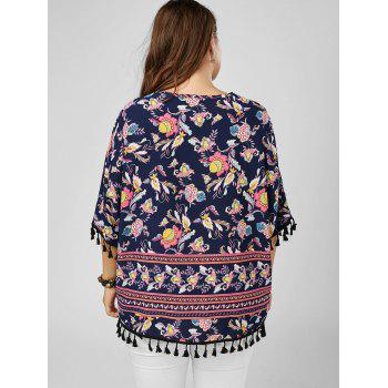Tassel Dolman Sleeve Printed Plus Size Top - COLORMIX ONE SIZE