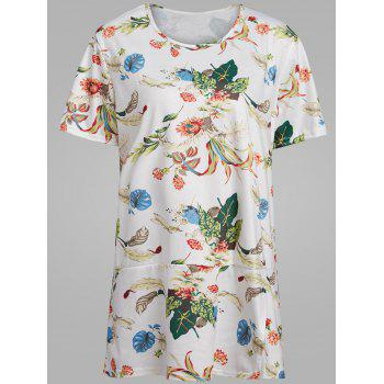 Plus Size Floral Tropical Printed T-shirt