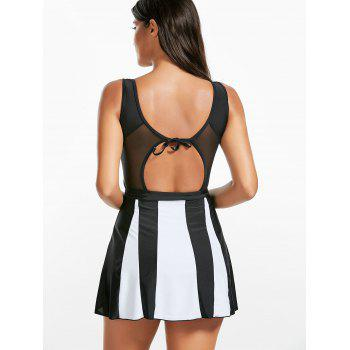 Two Tone Backless Skirted Tankini Set - BLACK BLACK
