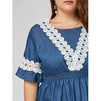 Plus Size Lace Panel Chambray Dress with Flare Sleeves - 5XL 5XL
