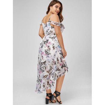 Butterfly Print Cold Shoulder Maxi Plus Size Slip Dress - 5XL 5XL