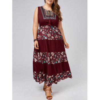 Sleeveless Floral Plus Size Maxi Prom Dress
