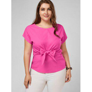 Plus Size Front Bow Knot Peplum Top - 3XL 3XL
