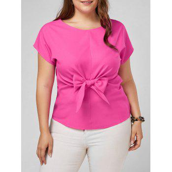 Plus Size Front Bow Knot Peplum Top - ROSE RED 3XL