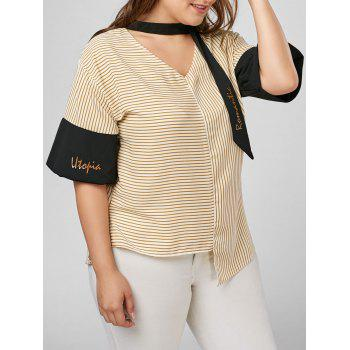 Plus Size Stripe Flare Sleeve Choker Blouse