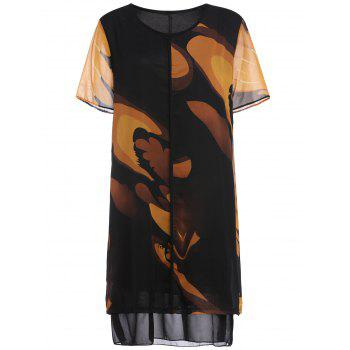 Plus Size Tie Dye Chiffon Two Layered Dress - YELLOW YELLOW