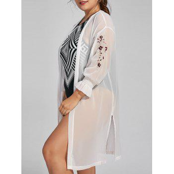 Plus Size Chiffon Sheer Long Sleeve Cover Up Kimono