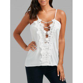 Lace Low Cut Lace Up Cami Top - WHITE XL