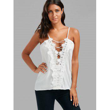 Lace Low Cut Lace Up Cami Top - XL XL