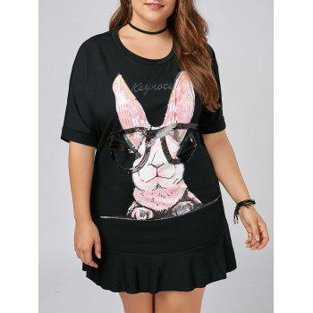 Plus Size Funny Rabbit Flounce T-shirt Dress