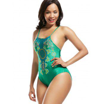 Cross Back Lace-Up Embroidered Swimsuit - GREEN GREEN