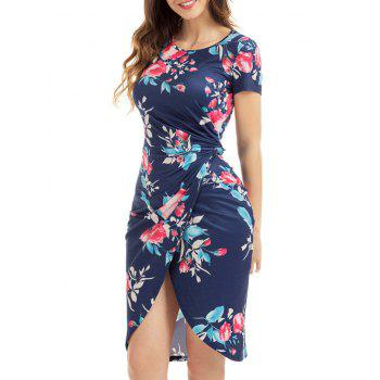Knotted Fitted Floral Slit Dress - BLUE BLUE