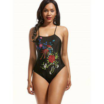 High Neck Embroidered Cross Back Swimsuit - 3XL 3XL